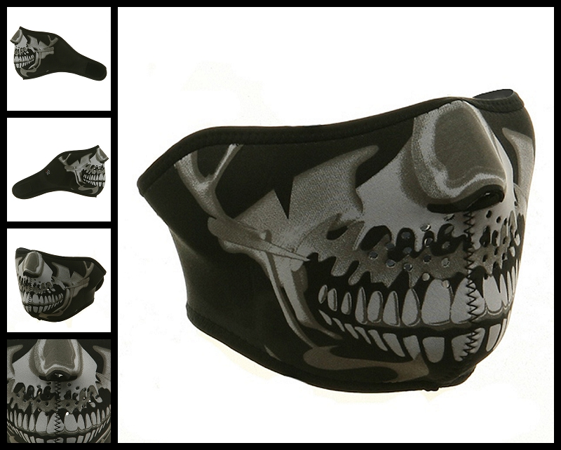 Half Chrome Skull Neoprene Face Mask