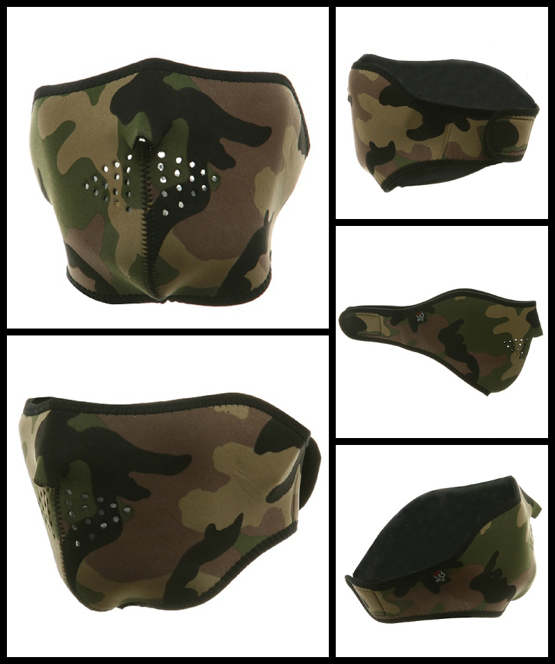 Half Woodland Camo Neoprene Face Mask