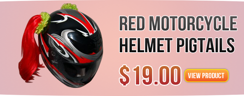 Red Motocycle Helmet Pigtail