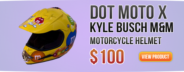DOT Moto-x Kyle Busch M&M Motorcycle Helmet